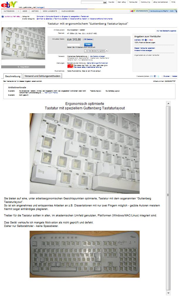 Gutenberg Tastaturlayout