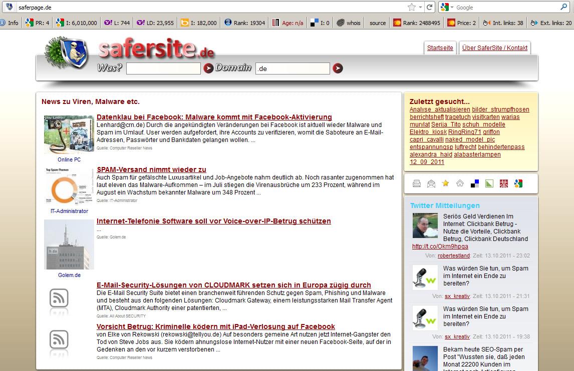 Blackhat SEO Site Safersite.de